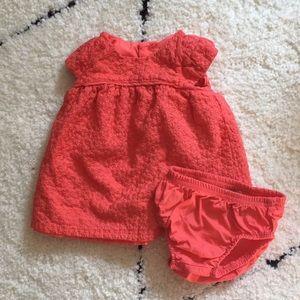 Newborn coral embroidered dress